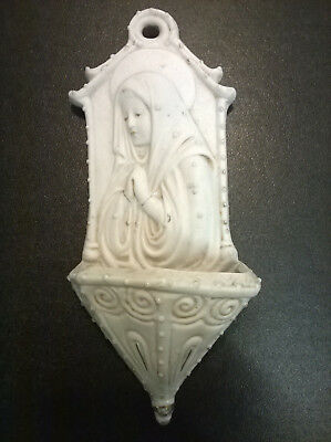 Acquasantiera D'epoca Madonna In Porcellana Biscuit 2786 - Cm.18