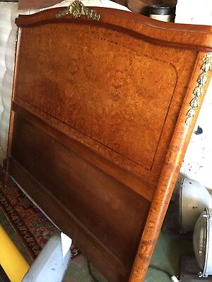 Antique French walnut amboyna double bed