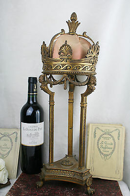 Unusual rare Antique French empire caryatids crowned table lamp lion paws 1900