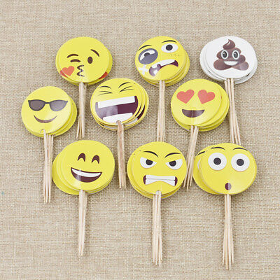 Emoji Cupcake Toppers Children Birthday Party Cake Decorations Accessories 1 Set