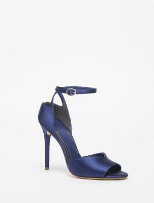 44e054b03aec New Halston Heritage Womens Simone Satin Ankle Strap High Heel - Satin Navy