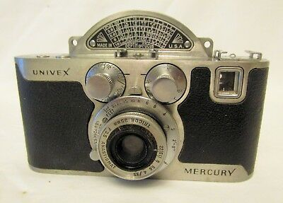 Vintage Univex Mercury CC 35mm camera Unusual rotary shutter Working!
