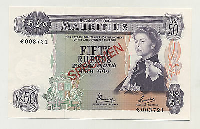 Mauritius 50 Rupees ND 1978 Pick 33.s UNC Uncirculated Banknote Specimen