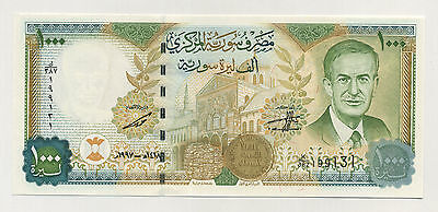 Syria 1000 Pounds 1997 Pick 111.b UNC Banknote Serial K With Map