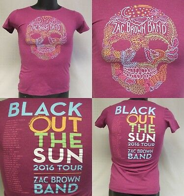 Zac Brown Band Black Out The Sun 2016 Concert Tour Womens T-Shirt Size Small