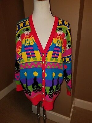 Vintage Womans 80'S Ugly Creepy Clown Circus Sweater By Gerard Works Size Large
