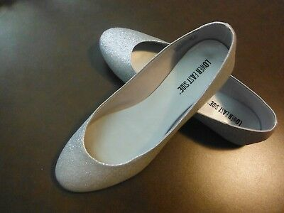 Lower East Side Silver Sparkle Closed Shoes With Tiny Heel - Size 10 Very Cute!