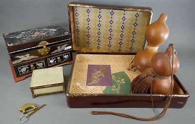 Fine Old Chinese & Japanese Lot Miscellaneous Items Box Gourds & More Jade