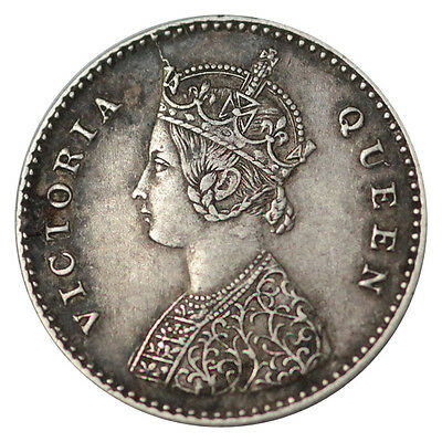 British India 2 Annas Queen Victoria Km# 469 Silver Xf+ Key Date 1862