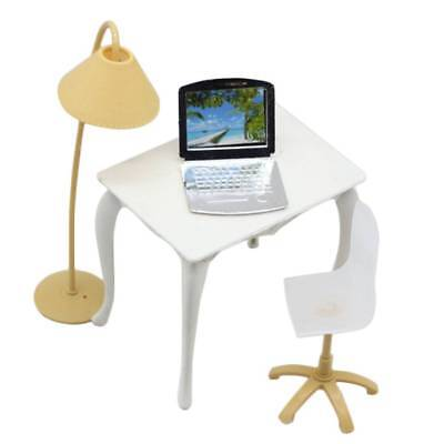 Office Room Furniture Desk Chair Computer Laptop Floor Lamp for Barbie Dolls AU