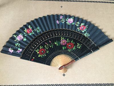 Vintage Hand Held Fan chic flowers black unique finishing touch