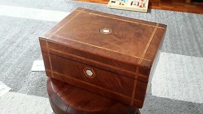 Antique Walnut Burl Box With Mother Of Pearl & Ebony Marquetry Early Monopoly