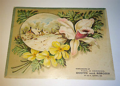 Antique Western Vail & Greene Boots & Shoes Nebraska! Old Advertising Trade Card