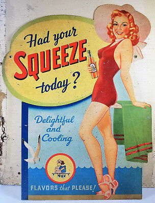 Had Your Squeeze Today Girl Red Swimsuit Beach Scene Soda Pop Heavy Metal Sign
