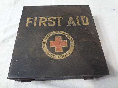 Vintage american national red cross First Aid Kit with Contents ~ Metal Case