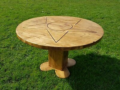 Chunky Round Table Will LED Inset Epoxy Resin. Handmade From Reclaimed  Timber
