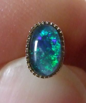 Genuine 925 Sterling Silver Blue-Green Opal Single Gem Stud Earring (Not a pair)