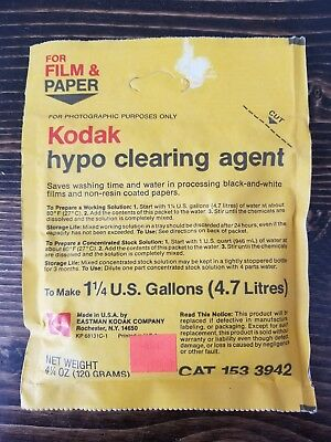 Vintage Kodak Hypo Clearing Agent Cat 153 3942 New Old Stock Black White