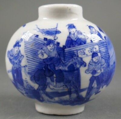 Fine Old Chinese Blue and White Porcelain Snuff Bottle Scholar Art