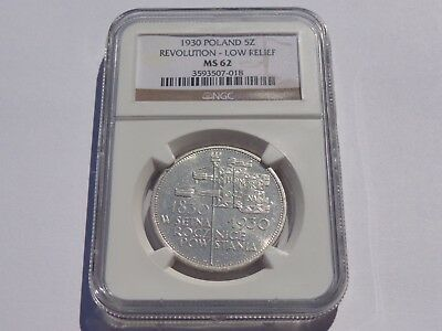 1930 Poland Revolution-Low Reief 5 Zlotych Ngc Ms-62! Super Nice! Must See!!