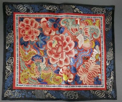 Fine Old Chinese Silk Embroidery Badge Banner Robe Scholar Art #13