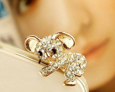 Luxury 3D Diamond Cute Koala Pluggy 3.5mm Cartoon Dust Plug Anti-dust Earphone A