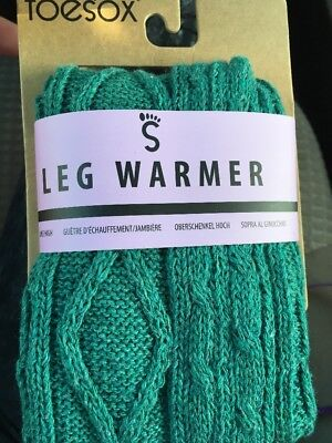 NWT Womens ToeSox Knee High LEG WARMERS, Teal Green Cable Knit, Dance, Yoga, F/S