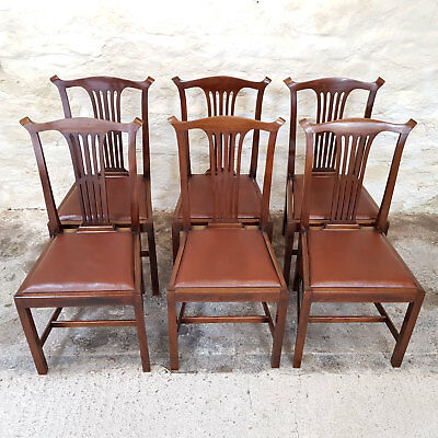 Chippendale Style Set of 6 Mahogany Dining Chairs Early C20th (Georgian Antique)