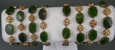 Fine Old Chinese Lot (7) Jade & sterling silver bracelets Bangles Jewelry
