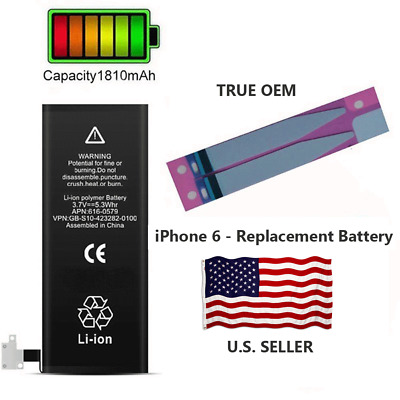 OEM Battery for Apple iPhone 6 1810mAh Original Replacement w/ Flex + Adhesives