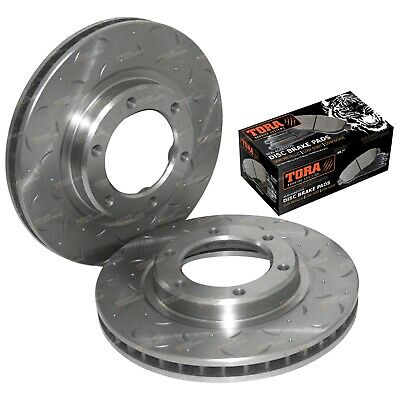 Drilled Slotted Front Disc Rotors + Brake Pads suits L/Cruiser 9/92-98 80 Series