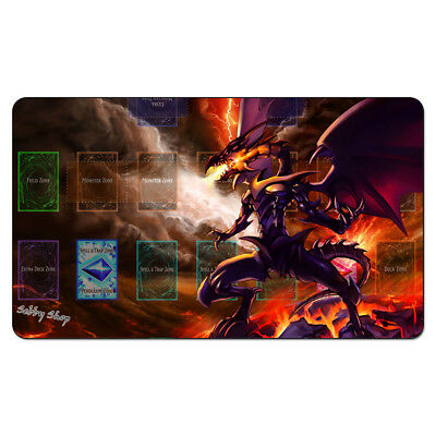 YGO Custom Playmat Red Eyes Black Metal Dragon Games Playmat with Free Gift Bag
