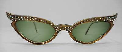 Vintage Swank France Translucent Brown AB Rhinestone Winged Cat Eye Glasses