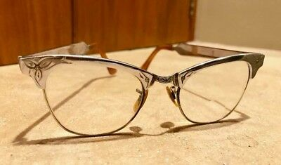 Vintage cat eye, 1950s - 60s eyeglasses, glasses, aluminum, 5 1/2 inch