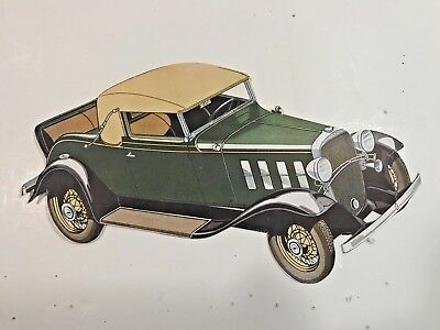1932 Chevrolet Die Cut Paper Car Style guide info/price: Convertible Cabrolet
