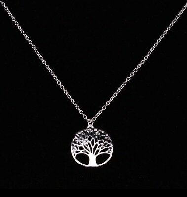 925 Sterling Silver Filled Tree Of Life Pendant Chain Necklace Women's Jewellery