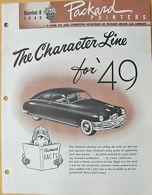 1949 Packard Pointers Sales Bulletin No. 8  FREE SHIPPING !