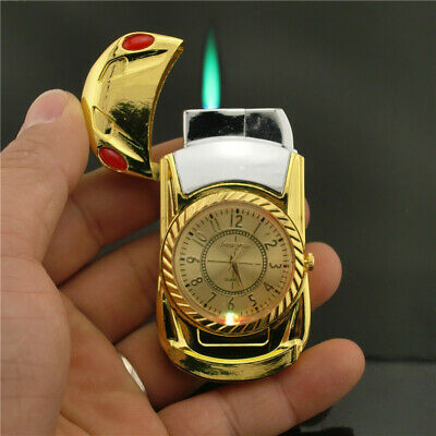 Cool Men Quartz Watch Windproof Jet Torch Refillable Gas Butane Lighter Gift