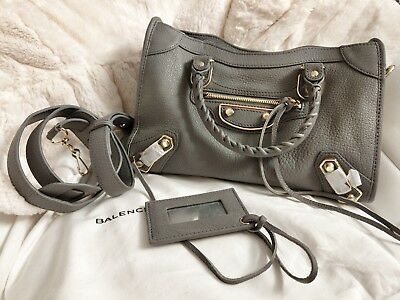 ed47e26cb5 BALENCIAGA METALLIC EDGE City Small Leather Bag - Grey - $1,400.00 ...