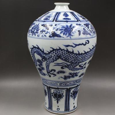 Beautiful Chinese Antique Blue&White Porcelain Dragon Mei Vase