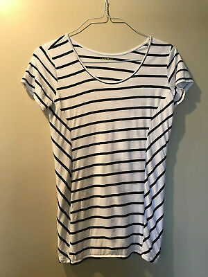 A Pea in the Pod Maternity Striped Top Navy Blue - Size S/P