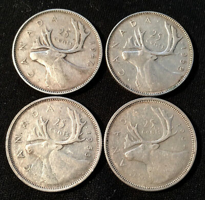 4 Silver Canadian Quarters Dated, 1947, 1952, 1953 & 1964
