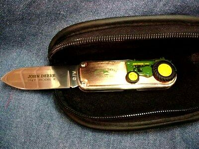 JOHN DEERE FOLDING KNIFE - MODEL R TRACTOR - FRANKLIN MINT - NEW with CASE