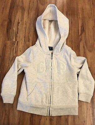 Baby Gap Toddler Boys Girls 3T/3 Sherpa Fleece Lined Light Beige Logo Zip Hoodie