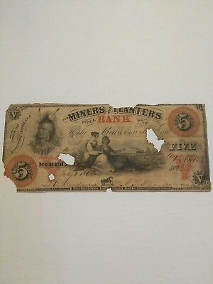 Civil War Confederate 1862 5 dollars Miners and Planters Bank note Murphy NC