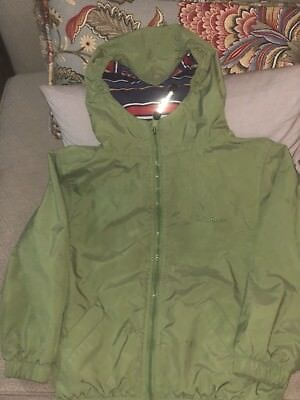 Boys LL Bean Lightweight Jacket With Hood Water Proof Green Size 5-6