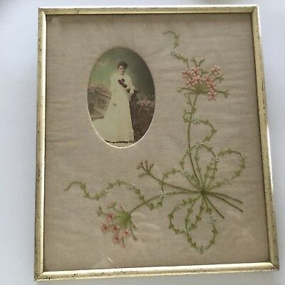 ANTIQUE PHOTOGRAPH IN FRAME WITH HAND EMBROIDERY - 1800's