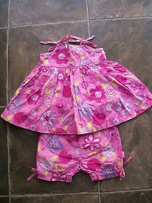 Baby Girl's Pumpkin Patch Pink Floral Summer Dress & Pants Set Size 00 VGUC