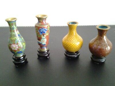 CLOISONNE VASES  - 4 miniture vases with stands