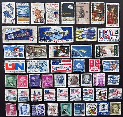 North America Usa Stamp Collection Of 50 Different Used Stamps All Unhinged